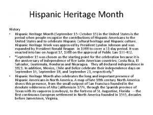 Hispanic Heritage Month History Hispanic Heritage Month September
