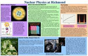 What is Nuclear Physics Nuclear Physics at Richmond