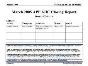 March 2005 doc IEEE 802 11 050306 r