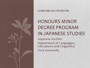 LAUNCHING RECEPTION FOR HONOURS MINOR DEGREE PROGRAM IN