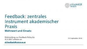 Feedback zentrales Instrument akademischer Praxis Mehrwert und Einsatz