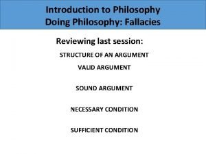 Introduction to Philosophy Doing Philosophy Fallacies Reviewing last