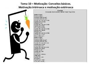 Tema 10 Motivao Conceitos bsicos Motivao intrnseca x