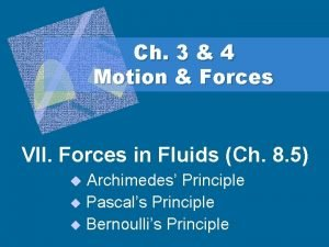 Ch 3 4 Motion Forces VII Forces in