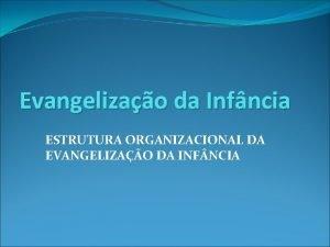 Evangelizao da Infncia ESTRUTURA ORGANIZACIONAL DA EVANGELIZAO DA