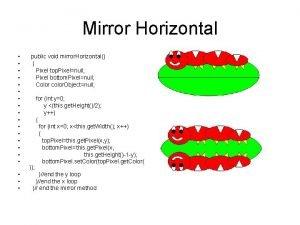 Mirror Horizontal public void mirror Horizontal Pixel top