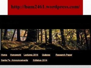 http hum 2461 wordpress com hum 2461 Homework