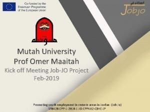 Mutah University Prof Omer Maaitah Kick off Meeting