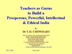 Teachers as Gurus to Build a Prosperous Powerful