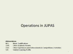 Operations in JUPAS Abbreviations MQ Music Qualifications OAR