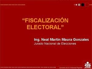 FISCALIZACIN ELECTORAL Ing Neal Martin Maura Gonzales Jurado