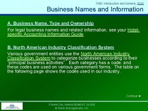 7000 Introduction and General 7010 Business Names and