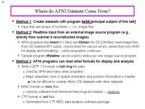 1 Where do AFNI Datasets Come From Method