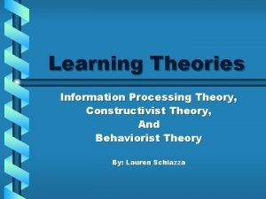 Learning Theories Information Processing Theory Constructivist Theory And