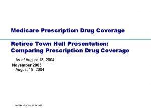 Medicare Prescription Drug Coverage Retiree Town Hall Presentation