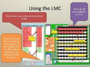Using the LMC This is where you write