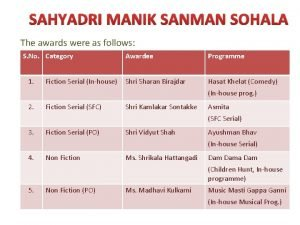 SAHYADRI MANIK SANMAN SOHALA The awards were as