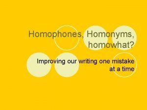 Homophones Homonyms homowhat Improving our writing one mistake
