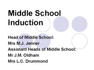 Middle School Induction Head of Middle School Mrs