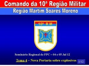 Seminrio Regional de FPC 04 e 05 Jul