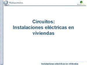 Circuitos Instalaciones elctricas en viviendas INSTALACIONES ELCTRICAS EN