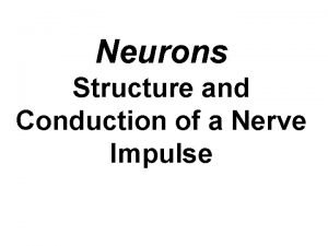 Neurons Structure and Conduction of a Nerve Impulse