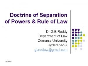 Doctrine of Separation of Powers Rule of Law