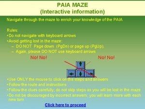 PAIA MAZE Interactive information Navigate through the maze