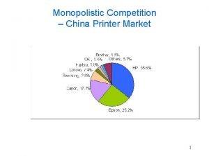 Monopolistic Competition China Printer Market 1 Oligopoly 2