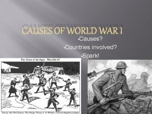 CAUSES OF WORLD WAR I Causes Countries involved