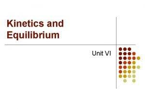 Kinetics and Equilibrium Unit VI I Kinetics A