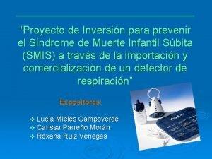 Proyecto de Inversin para prevenir el Sndrome de