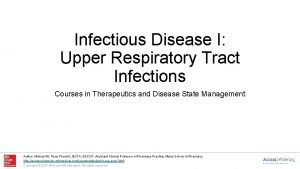 Infectious Disease I Upper Respiratory Tract Infections Courses