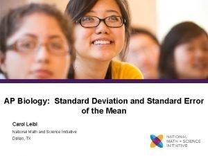 AP Biology Standard Deviation and Standard Error of