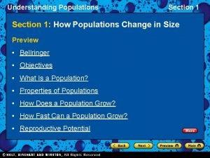 Understanding Populations Section 1 How Populations Change in