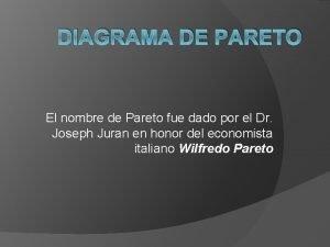 DIAGRAMA DE PARETO El nombre de Pareto fue
