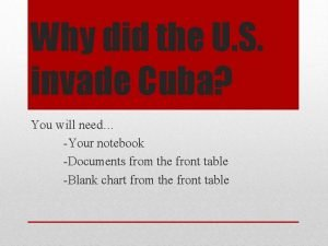 Why did the U S invade Cuba You