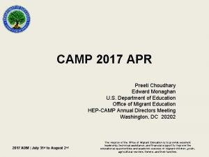 CAMP 2017 APR Preeti Choudhary Edward Monaghan U