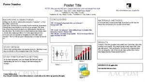 Poster Number Poster Title NOTE May put subtitle
