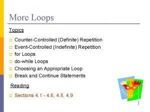 More Loops Topics p p p CounterControlled Definite