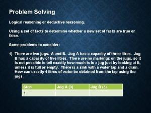 Problem Solving Logical reasoning or deductive reasoning Using