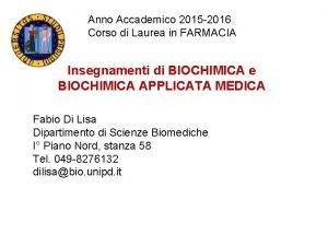 Anno Accademico 2015 2016 Corso di Laurea in