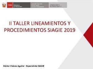 II TALLER LINEAMIENTOS Y PROCEDIMIENTOS SIAGIE 2019 Hctor