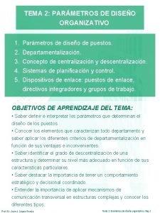 TEMA 2 PARMETROS DE DISEO ORGANIZATIVO 1 Parmetros