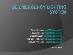 GE EMERGENCY LIGHTING SYSTEM Steve Benner swb 5096psu