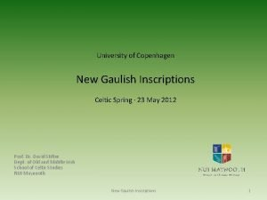 University of Copenhagen New Gaulish Inscriptions Celtic Spring