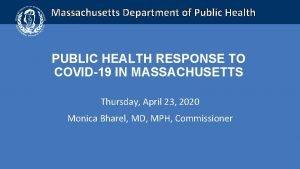 Massachusetts Department of Public Health PUBLIC HEALTH RESPONSE