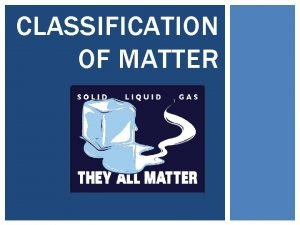 CLASSIFICATION OF MATTER COMPOSITION OF MATTER Chapter 15