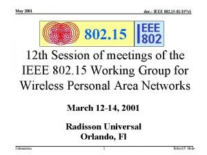 May 2001 doc IEEE 802 15 01197 r