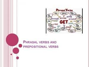 PHRASAL VERBS AND PREPOSITIONAL VERBS MULTIWORD VERBS verbs